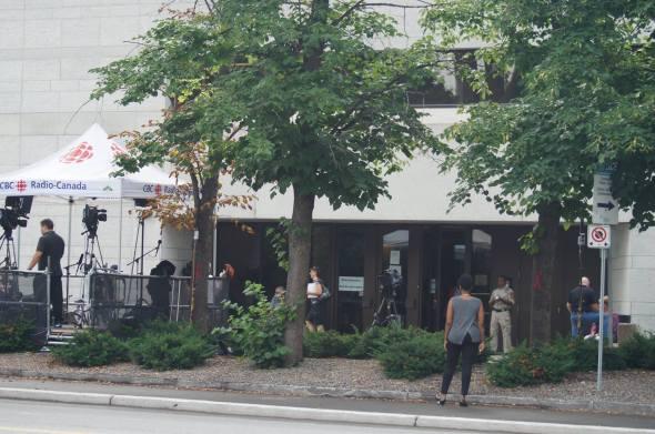 People around exterior of CBC building