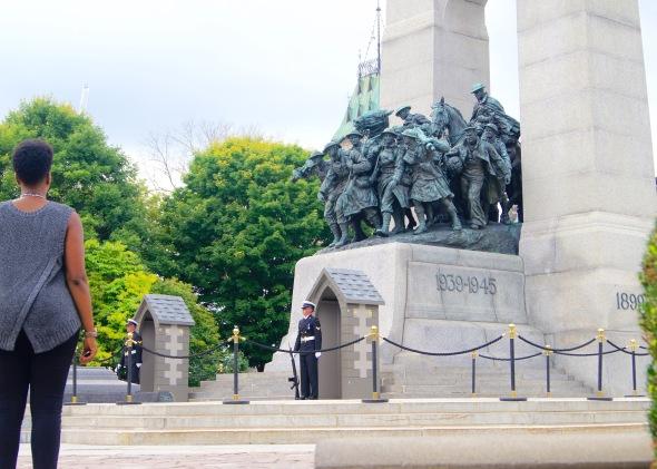 Dr. Naila Keleta-Mae stands in front of War Memorial